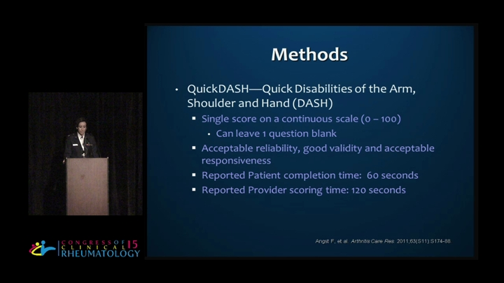 Validation of the QuickDASH in the assessment of rheumatoid arthritis disease ac...